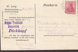 Germany Deutsches Reich W. LANG, NIEDERTRAUBLING Post OBERTRAUBLING 1921 Card Karte STUTTGART 40 Pf. Germania - Cartas