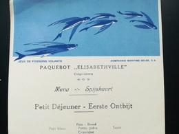 """PAQUEBOT """" ELISABETHVILLE"""" VIEUX MENU VOYAGE CONGO BELGE - ANVERS  COMPAGNIE MARITIME BELGE CMB ANNÉE 1936 +  PHOTOS - Barche"""