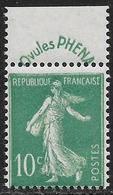 France - Type Semeuse Camée PHENA - N° 188 Neuf Sans Charnière. - 1906-38 Semeuse Con Cameo