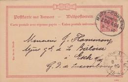 CARTE. 8 6 1900. DE APACH (SCIERCK). BAHNPOST METZ-COBLENZ POUR ESCH-SUR-ALZETTE LUXEMBOURG. - Brieven En Documenten