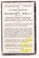 DP August Dely / Vermeersch ° Bekegem Ichtegem 1885 † 1919 - Images Religieuses