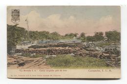 """Campeche, Mexico - """"La Montana S A"""" - Canoa Cargando Palo De Tinte - Boat, Dye Sticks - Old Postcard - Mexico"""