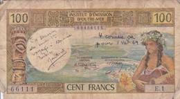 BILLET DE 100 FRANCS INSTITUT D'EMISSION D'OUTRE-MER NOUMEA - Nouvelle-Calédonie 1873-1985