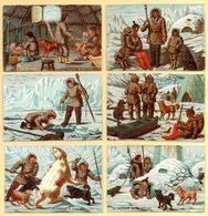 Lot 6 Chromos, Les Esquimaux. Une Famille, L'habitation, Le Traineau, Pêche Au Phoque, Retour De Pêche, Chasse à L'ours. - Trade Cards
