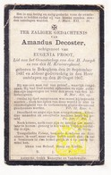 DP Amandus DeCoster ° Bekegem Ichtegem 1837 † 1907 X Eugenia Proot - Devotion Images