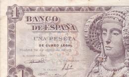 ESPAÑA BILLETE DE 1 PESETA 19 DE JUNIO DE 1948/ TTBE - [ 3] 1936-1975 : Regency Of Franco