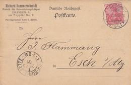 CARTE PRIVEE. 24 5 1901. RICHAR HAMMERSCHMIDT DRESDEN POUR ESCH SUR ALZETTE LUXEMBOURG - Allemagne