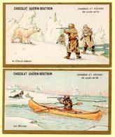 Lot 2 Chromos Chocolat Guérin-boutron. Chasse à L'ours Blanc Et Chasse Au Morse Sur La Banquise. - Guerin Boutron