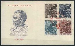 1952 Jugoslavia, Congresso Partito Comunista Zagabria, FDC Non Viaggiata Serie Completa Nuova (**) - FDC
