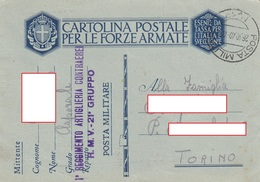 "9275- FRANCHIGIA P.M. 2° GUERRA SPEDITA DA ""POSTA MILITARE N.19"" - 1900-44 Vittorio Emanuele III"