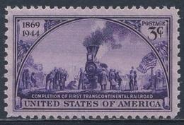 USA 1944 Mi 525 YT 477 Sc 922 SG 919 ** 75th Ann. First Transcontinental Railway / Transkontinentalen Eisenbahn Amerika - Trains