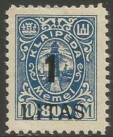 Klaipeda (Memel) - 1923 Annexation Surcharge 1L/800m MH *    Mi 202 - Memel (1920-1924)