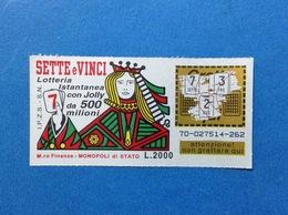 BIGLIETTO LOTTERIA ISTANTANEA GRATTA E VINCI USATO L. 2000 SETTE E VINCI - Biglietti Della Lotteria
