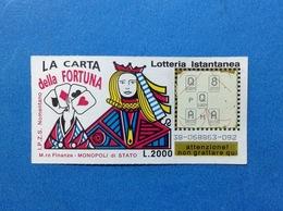 BIGLIETTO LOTTERIA ISTANTANEA GRATTA E VINCI USATO L. 2000 LA CARTA DELLA FORTUNA - Biglietti Della Lotteria