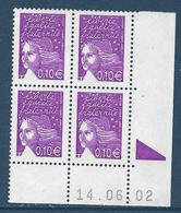 Marianne De Luquet : 0, 10 € Violet-rouge (n°3446) Bloc De 4 Coin Daté 14.6.2002 Avec Repère électronique - 1997-04 Marianna Del 14 Luglio