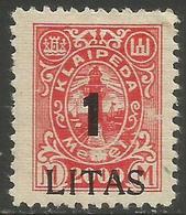 Klaipeda (Memel) - 1923 Annexation Surcharge 1L/2000m MH *    Mi 204 - Memel (1920-1924)