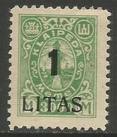 Klaipeda (Memel) - 1923 Annexation Surcharge 1L/3000m MH *    Mi 205 - Memel (1920-1924)