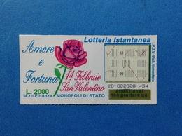 BIGLIETTO LOTTERIA ISTANTANEA GRATTA E VINCI USATO L. 2000 AMORE E FORTUNA SAN VALENTINO - Lottery Tickets