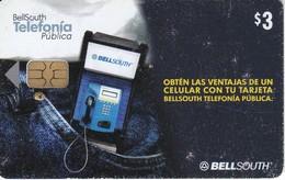 TARJETA DE ECUADOR DE BELLSOUTH DE $3 CABINA TELEFONO BOLSILLO - Ecuador