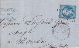 France - Y&T 22 Sur Pli Oblitération GC 19 - Aigrefeuille D'Aunis - Charente-Inférieure - 1849-1876: Periodo Clásico