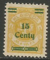 Klaipeda (Memel) - 1923 Arms Surcharge 15c/20m MH *    Mi 207 - Memel (1920-1924)