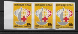 MALI - CROIX ROUGE YT N°55 X3 NON DENTELES ! ** MNH - RED CROSS - Mali (1959-...)