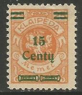Klaipeda (Memel) - 1923 Arms Surcharge 15c/25m MH *    Mi 208 - Memel (1920-1924)