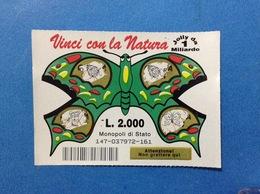 BIGLIETTO LOTTERIA GRATTA E VINCI USATO L. 2000 VINCI CON LA NATURA FARFALLA VERDE - Biglietti Della Lotteria