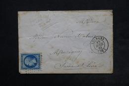FRANCE - Enveloppe De Louhans Pour Marcigny En 1861 , Affranchissement Napoléon Type II Bleu Sur Vert - L 24511 - Marcofilia (sobres)