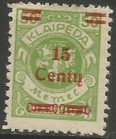 Klaipeda (Memel) - 1923 Arms Surcharge 15c/50m MH *    Mi 210 - Memel (1920-1924)