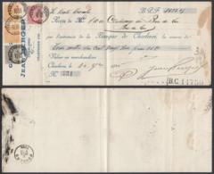 BELGIQUE COB 57+63+64 X2 SUR QUITTANCE DE CHARLEROI STATION (DD) DC-2253 - 1893-1900 Barba Corta