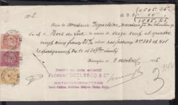 """BELGIQUE COB 50+57+64 SUR RECU DE """"MEVERGNIES-ATTRE"""" DU 08/10/1895 (DD) DC-2254 - 1884-1891 Léopold II"""