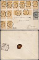 BELGIQUE COB 53+54 X12 SUR LETTRE DE BOUILLON 16/03/1895 VERS ROME (DD) DC-2260 - 1893-1900 Fine Barbe