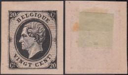 BELGIQUE ESSAIS AU TYPE EMIS 1865 20c NOIR GRUBBEN 324 (DD) DC-2270 - Proeven & Herdruk