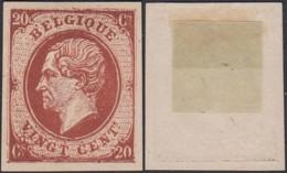 BELGIQUE ESSAIS AU TYPE EMIS 1865 20c BRUN ROUGE GRUBBEN 325 (DD) DC-2271 - Proeven & Herdruk