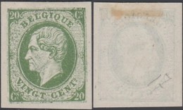 BELGIQUE ESSAIS AU TYPE EMIS 1865 20cVERT GRUBBEN 326 (DD) DC-2272 - Proeven & Herdruk