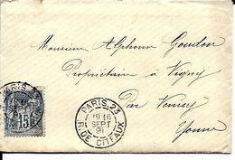 89 Paris  23 - R. De CITEAUX  - SEPT 1891 - Type Sage - Cartes Postales Repiquages (avant 1995)