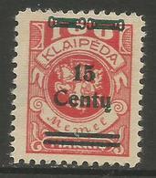 Klaipeda (Memel) - 1923 Arms Surcharge 15c/100m MH *    Mi 211 - Memel (1920-1924)