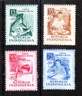 Indonesia -1955. Emissione Pro Ciechi. Tessitori E Studenti. Pro-blind Issue. Weavers And Students. MNH - Professioni