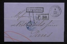 RUSSIE - Lettre Pour Paris En 1867 , Voir Différents Cachets à étudier - L 24512 - 1857-1916 Empire