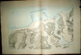 29 BREST DOUBLE PLANCHE PLAN DU PORT ET DE LA VILLE  EN 1886 DE L'ATLAS DES PORTS DE FRANCE 98 X 66 Cm - Nautical Charts