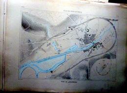 29 LANDERNEAU PLAN DU PORT ET DE LA VILLE  EN 1886 DE L'ATLAS DES PORTS DE FRANCE 49 X 66 Cm - Nautical Charts