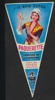 """étiquette Fromage 1/12 De Brie Extra Paquerette 45ùmg Fabriqué En Champagne 51 B SAFR """"femme"""" - Fromage"""