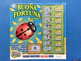 BIGLIETTO LOTTERIA GRATTA E VINCI USATO € 2,00 BUONA FORTUNA COCCINELLA - Biglietti Della Lotteria