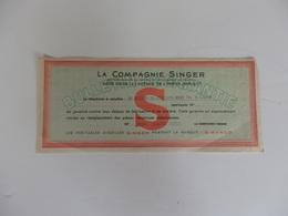 Bulletin De Garantie De La Compagnie Singer 27, Avenue De L'Opéra Paris 1er. - France