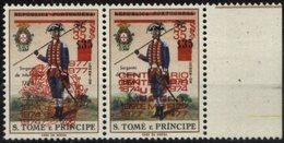 SAO TOME AND PRINCIPE, 1977, UNIFORMES MILITARES, R#68/67a, SOB. DUPLA, MNH, VC-100€ - Sao Tome Et Principe