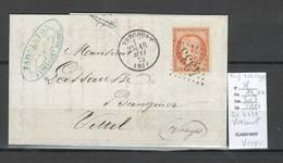 France - Lettre De VRECOURT - Vosges - GC 4333 - Yvert 38 - Postmark Collection (Covers)