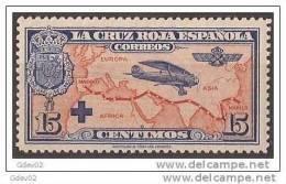 ES341-LA245TESO.España, Spain,  Espagne. Cruz Roja.AEREA1926 (Ed 341**) Sin Charnela.EXCELENTE - Escudos De Armas