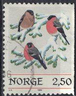 Norvège 1985 Oblitéré Used Oiseaux Sur Branche Enneigée Pyrrhula Pyrrhula Bouvreuil Pivoine - Norvège