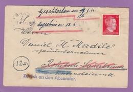 """BRIEF NACH ROHITSCH-SAUERBRUNN(SLOWENIEN)MIT VERMERK GESTORBEN + BEGREBNISS + STEMPEL """"ZURÜCK AN DEN ABSENDER"""". - 1918-1945 1. Republik"""
